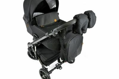 коляска 3в1/2в1 Baby-Merc Mosca черная ткань с блеском и эко кожа MO/ML204/B