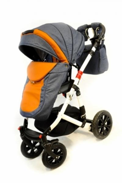 коляска FLORENCIJA Gusio 3в1 orange leather blue textile