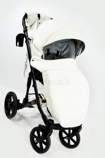 rati Mikrus Comodo BIANCO 3in1 vai bez auto sēdekļa, balta eko āda Baby Collection šaurie nepumpējamie riteņi