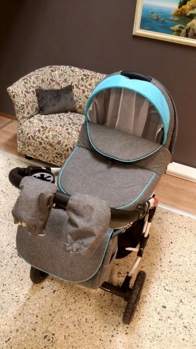 коляска  FLORECIJA Gusio 3в1/2в1 голубая эко кожа и серая ткань
