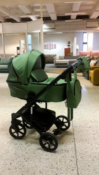 rati 3in1/2in1 Baby-Merc Mosca zaļš audums ar spīdumu un eko-āda